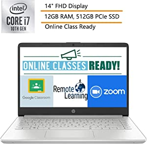 "2020 HP 14 14"" FHD Laptop Computer, 10th Gen Intel Quard-Core i7-1065G7, up to 3.9GHz, 12GB DDR4 RAM, 512GB PCIe SSD, Silver, Windows 10, Online Class Ready, Webcam, Microphone, iPuzzle Mouse Pad"