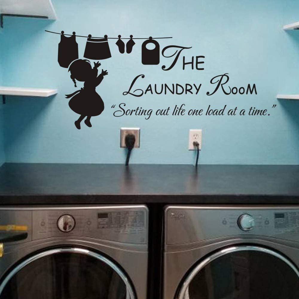 MoharWall Laundry Room Sign Quotes Wall Decal Vinyl Art Stickers Decor - The Laundry Room Sorting Out Life One Load at A Time