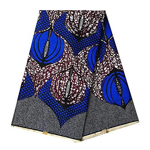 pqdaysun African Super Wax Print Fabric Ankara Fabric Wax Material 6 Yards for Sewing Dress Clothing wax002-wine (Blue)