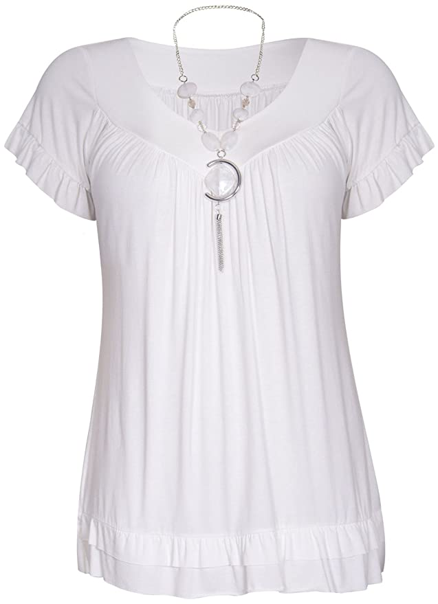 Womens Short Ruffle Frill Sleeve Ladies V Neckline Stretch T-Shirt Bead  Necklace Top Plus Size: Amazon.co.uk: Clothing
