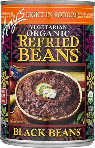Amy's Beans, Organic Light in Sodium Refried Black Beans , 15.4 Ounce
