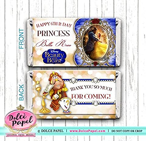 10 Elegant Princess Belle BEAUTY AND THE BEAST New Movie Mini Hershey Candy Bar Wrappers - Hersheys Mini Candy Bar Wrappers