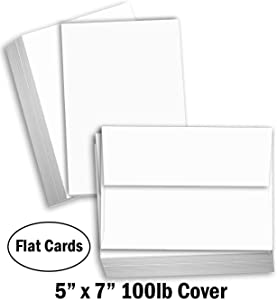 """Hamilco White Cardstock Thick Paper - Blank Index Flash Note & Post Cards with Envelopes - Greeting Invitations Stationary 5 X 7"""" Heavy Weight 100 lb Card Stock for Printer (100 Pack - with Envelopes)"""