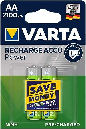 Oferta amazon: VARTA Recharge Accu Power, recargable - Pilas de NiMH AA Mignon (paquete de 2 unidades, 2100 mAh) - Recargables sin efecto de memoria - Listo para usar