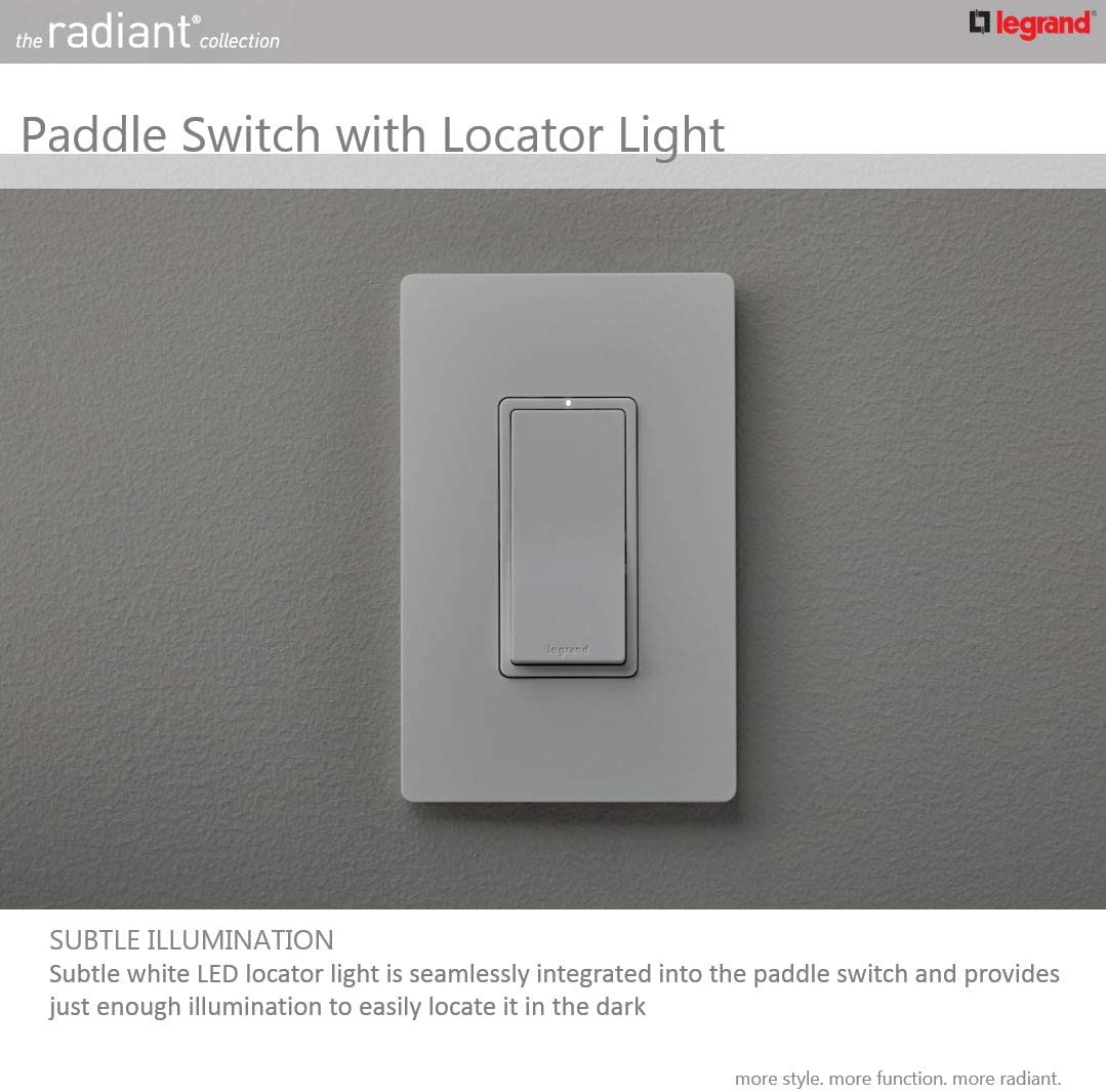 Legrand Radiant 15 Amp Single Pole White Rocker Light Switch Standard Smooth