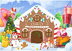 Funnytree 7x5ft Christmas Gingerbread House Backdrop for Party Winter Merry Xmas Candy Gifts Photography Background Santa Baby Shower Birthday Portrait Cake Table Decoration Banner Photo Booth