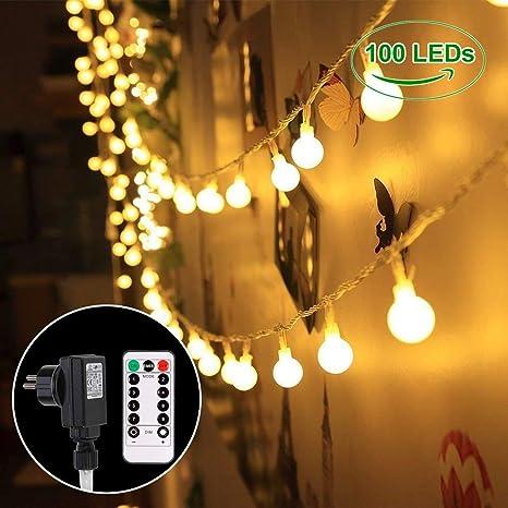 B-right Cadena de Luces, 100 LEDs 13m Tiras Bombilla Bola Redonda Decorativa Luminoso