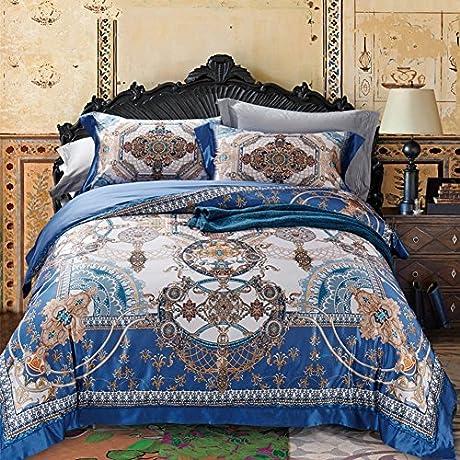 Silk Sheet Set 4 Piece Ultra Soft Silky Hypoallergenic Luxury Bedding Printed European 1 Quilt Cover 1 Sheet 2 Pillow Cases 4 Piece A Queen1