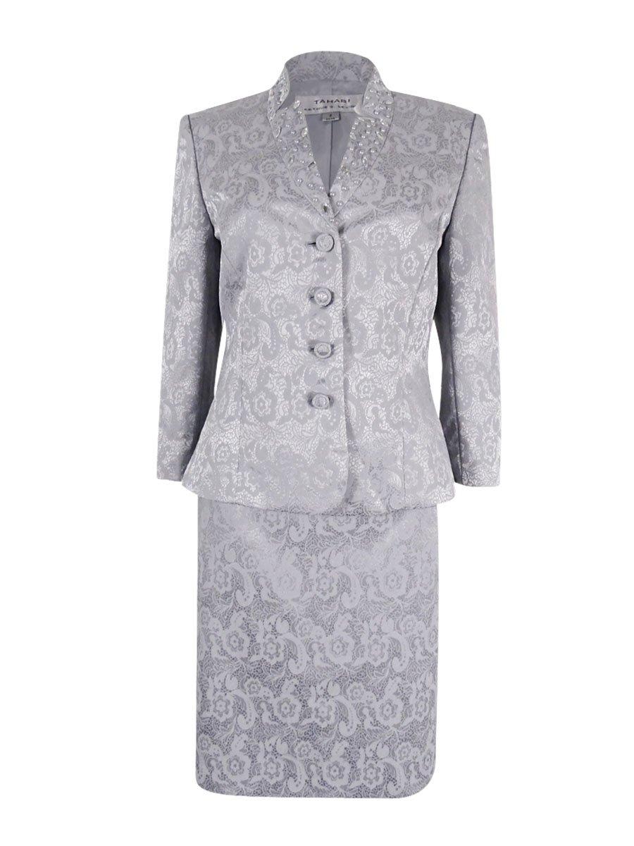 Tahari Women's Beaded Jacquard 4-Button Skirt Suit (6, Silver)