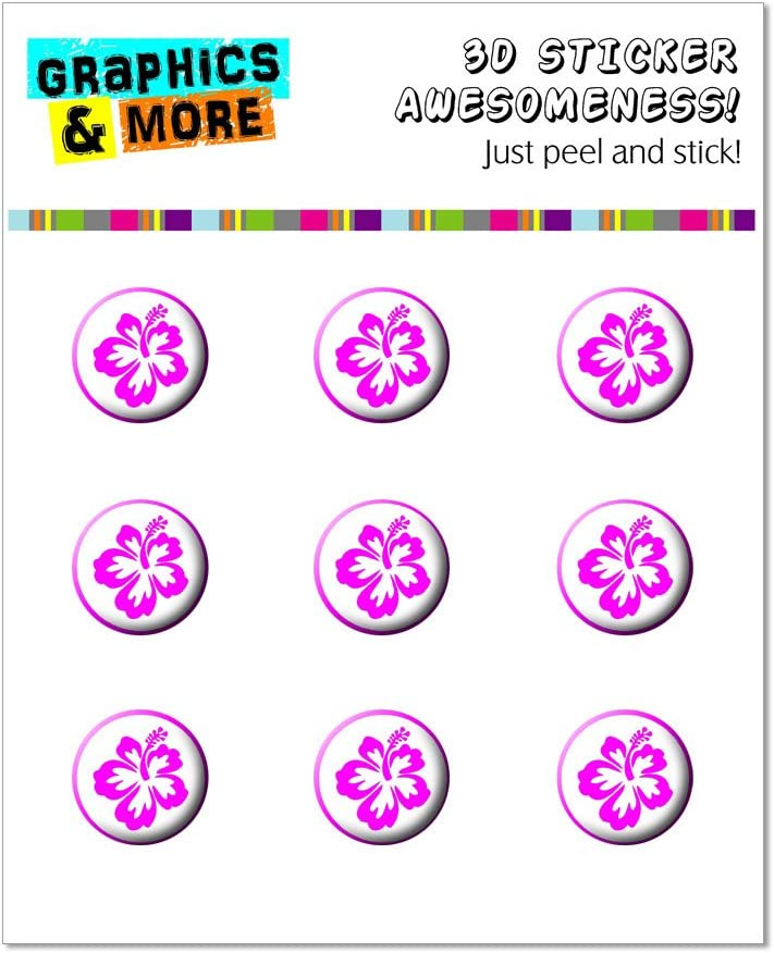 Graphics and More Hibiscus Hot Pink - Flower Home Button Stickers Fits Apple iPhone 4/4S/5/5C/5S, iPad, iPod Touch - Non-Retail Packaging - Clear