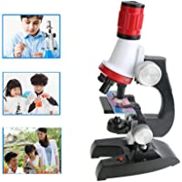 SNOWINSPRING Microscope Kit Lab Led 100X-400X-1200X Home School Science Educational Toy Gift Refined Biological Microscope for Kids Child