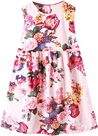 Girls Dress Floral Print Kids Cotton Dresses Holiday Girls Dress 18m to 5-6 yrs