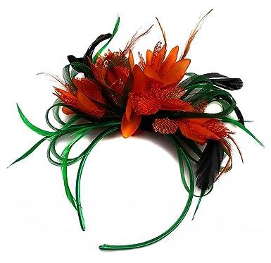 Green and Orange Hair Fascinator Headband Wedding and Royal Ascot ... 9cc4a5bcf6b