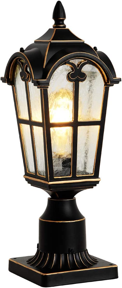 Outdoor Post Light Fixtures Black Pillar Light with 3-inch Pier Mount Adapter Post Lantern for Post/Pole Mount, Aluminumwith Flower Glass Outdoor Post Lamps for House, Patio, Garden, and Backyard