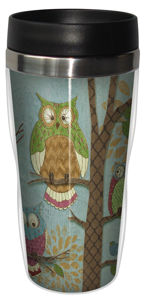 Fantasy Owls Vertical Travel Mug, Stainless Lined Coffee Tumbler, 16-Ounce - Paul Brent - Gift for Owl and Bird Lovers - Tree-Free Greetings 25515 by Tree-Free Greetings