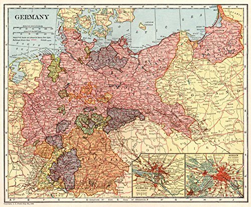 Map Original Vintage Map of Germany Collectible Historic Map Not a Reprint Home Office Decor Gallery Wall Art #1460 (Germany Antique Map)