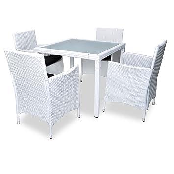 vidaXL Salon de jardin blanc en résine tressée poly rotin 4 chaises ...