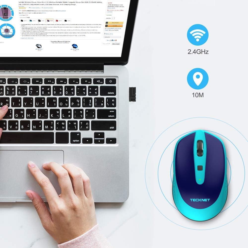 TECKNET Mini Rat/ón inal/ámbrico Wireless Mouse /Óptico 2.4G para Computadora Port/átil 2000 dpi 3 Niveles de Ajuste con Receptor Nano USB Dise/ño para Dormir Autom/ático