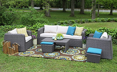 AE Outdoor Whitmire 6 Piece All Weather Wicker Deep Seating with Sunbrella Fabric