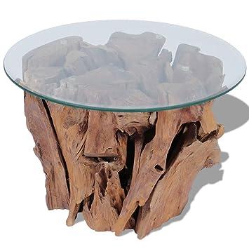 Vidaxl Teak Treibholz Massivholz Beistelltisch Couchtisch Mit