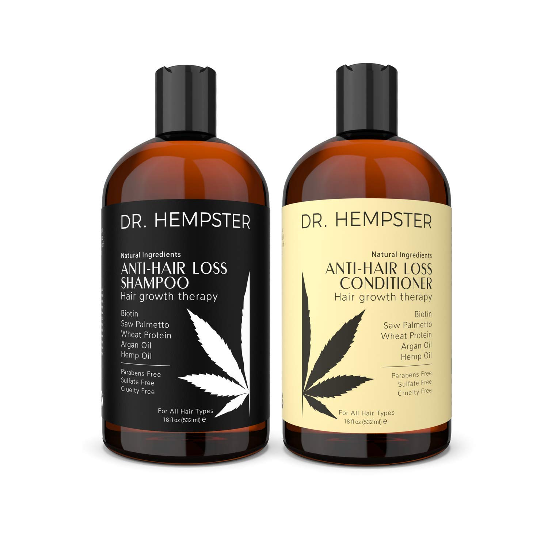 Organic Hemp Shampoo and Conditioner Set - Hydrating Argan Oil & Biotin Infusion, Thickening Moisturizing Volumizing Hair Shampoo Conditioner, Cruelty & Sulfate Free - 2 x 18 Fl Oz by dr.hempster