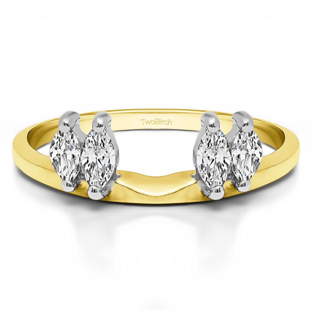 Solitaire Ring Wrap Enhancer set in Multi-Tone Gold set with CZ(0.15Ct) Size 3 To 15 in 1/4 Size Interval