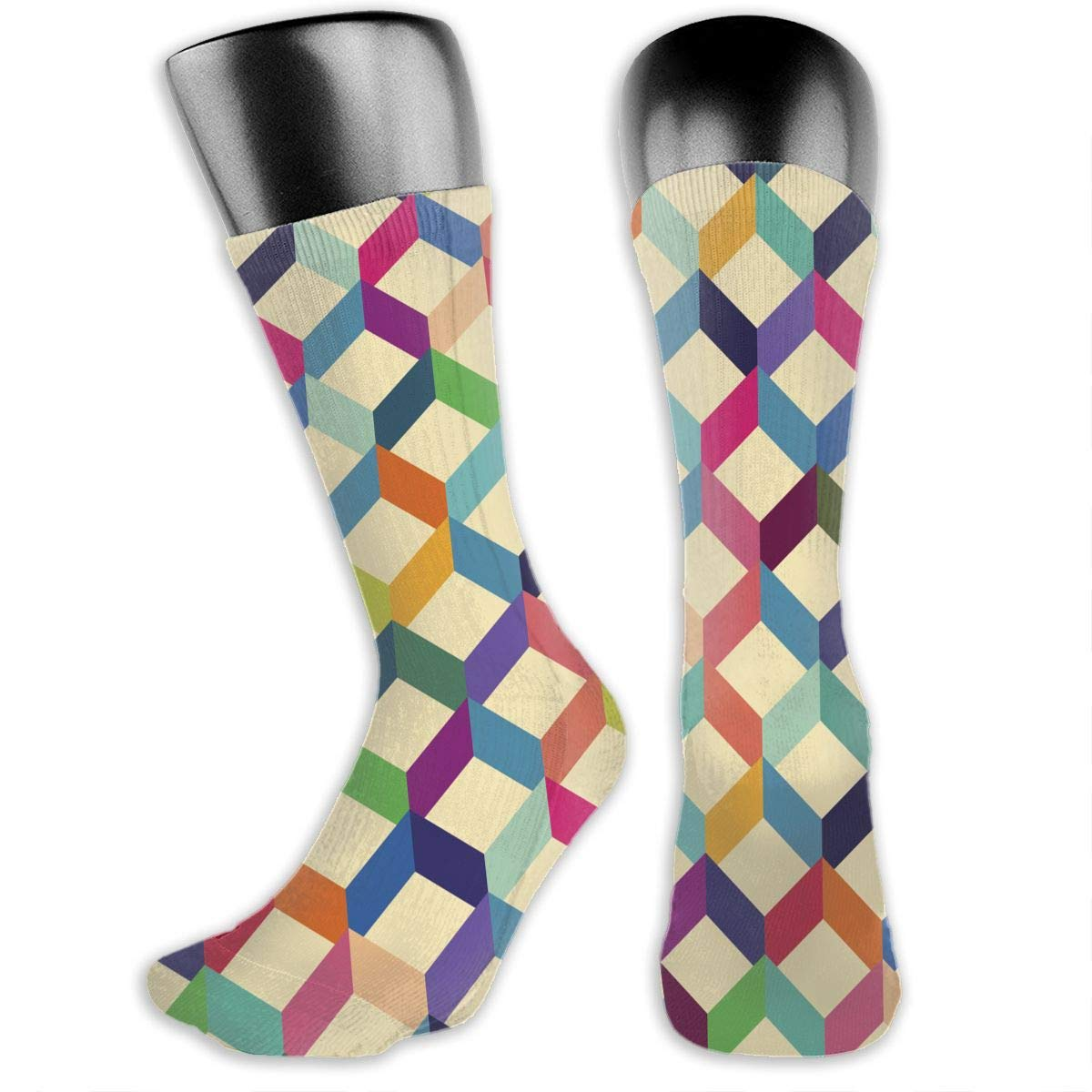 OLGCZM Colorful Geometric Pattern Men Womens Thin High Ankle Casual Socks Fit Outdoor Hiking Trail