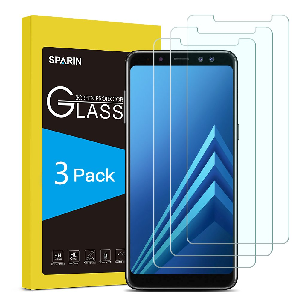 [3 Pack] Galaxy A8 2018 Screen Protector, SPARIN Tempered Glass - Anti-Scratch/9H Hardness/HD Clear Screen Protector for Samsung Galaxy A8 2018, 5.6 inch
