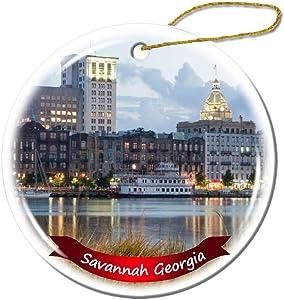 Fhdang Decor Savannah Georgia US Christmas Ornament Porcelain Double-Sided Ceramic Ornament,3 Inches