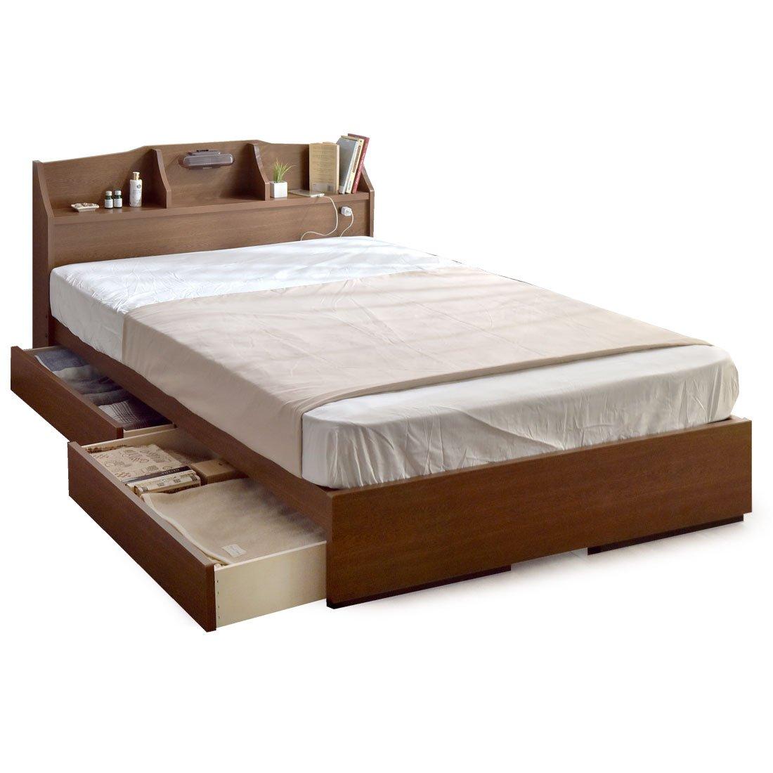 タンスのゲン 日本製 収納ベッド 引き出し コンセント付 フレームのみ 木製 宮棚 シンプル ベッドフレーム セミダブル ベッド ブラウン 44300008 01 B06XCYBNPF Parent