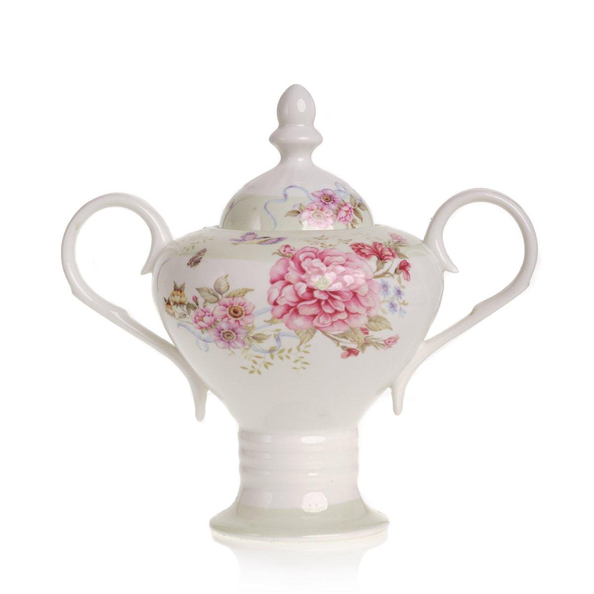 pot /à cr/ème et coffret cadeau 1/000/ml sucrier Service /à th/é en porcelaine de style r/étro chic /à motif floral avec th/éi/ère