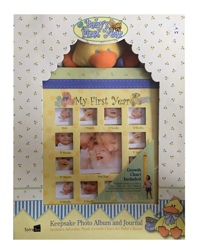 Babys First Year Keepsake Photo Album and Journal with Plush Growth Chart