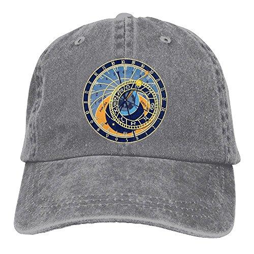 Uanqunan Astronomical Divination Unisex Cotton Denim Baseball Cap Adjustable Strap Low Profile Plain Hats Ash