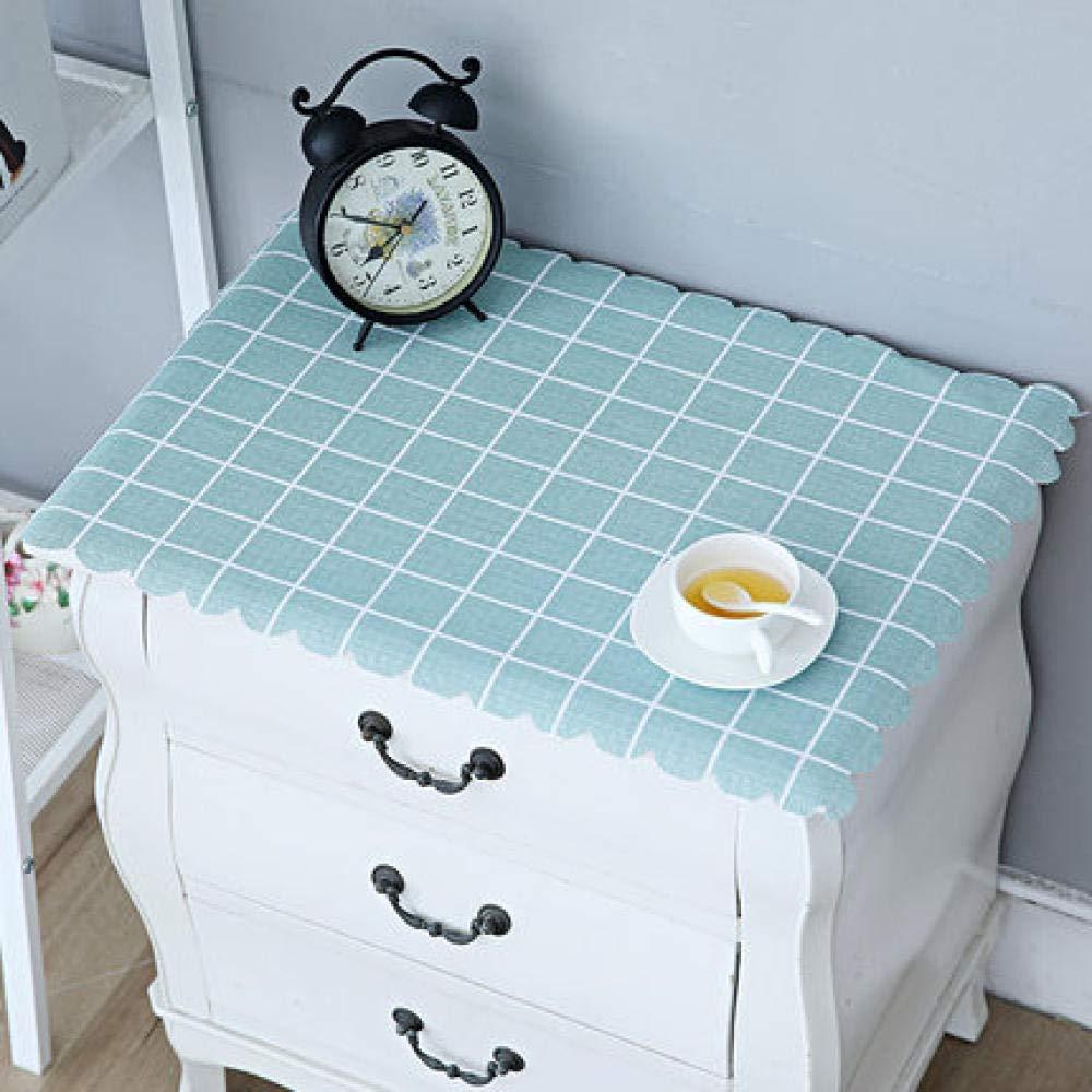 WJJYTX tischdecke Plastik, Nachttischdecke Abwischbare Vinyl-Tischdecke Stilvolles Muster Wasserdicht Kleines Quadrat Blau @ 40 * 60