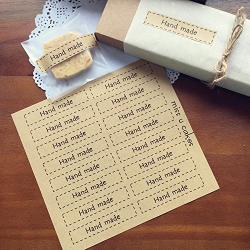 AUCH Hand Made Dotted Line Kraft Sticker Seal for Home Baking Handmade Cookie Cake Scrapbooking Homemade Soap Gift Packaging, Pack of 160 Rectangle La…