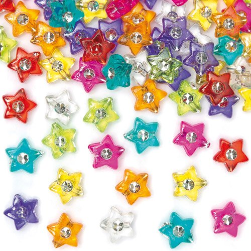 Baker Ross Star Diamante Beads for Children's Jewelry Making, Bead Crafts, Collage (Pack of ()