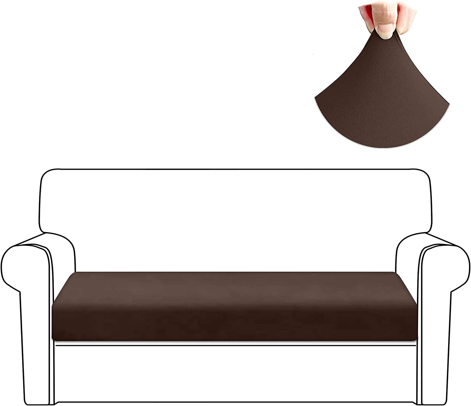 HDCAXKJ Stretch Couch Cushion Covers Soft Spandex Sofa Seat Cover for Loveseat Sectional Sofa Slipcovers Living Room Non Slip Furniture Protector with Elastic Bottom and Straps (Medium, Coffee)