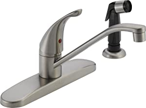 Peerless Single-Handle Kitchen Sink Faucet with Side Sprayer, Stainless P115LF-SS