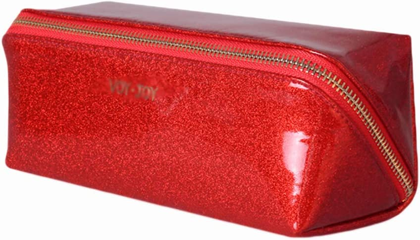 LASIMAO Bolsas de Maquillaje portátil de PU, Bolsa de cosméticos de Las Modas, Bolso de Regalo cosmético Señoras Lavabo de Viaje Bolsa Kit de Belleza Organizador Maquillaje Bolsa,Rojo