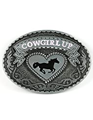 Senmi Cowgirl Up Rodeo Western Horse Oval Belt Buckle Silver