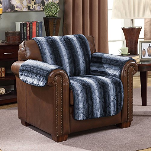 Wag and Wiggle Reversible Luxury Faux Fur Plush Furniture Cover Chair, Indigo by Wag and Wiggle