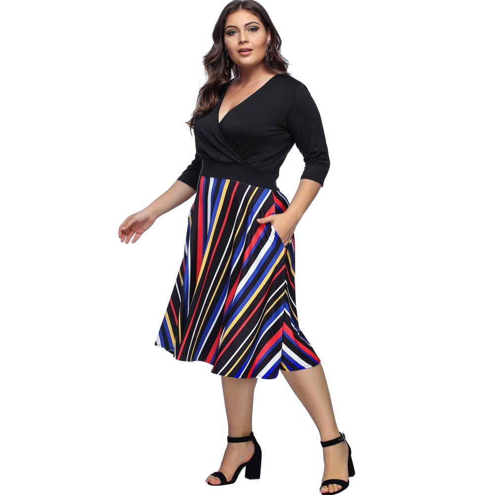 Lover-Beauty Womens Plus Size Dresses Casual Midi Deep V Cross Neck High Waist A-Line Dress: Amazon.co.uk: Clothing