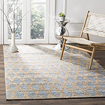 Safavieh Cape Cod Collection CAP413A Hand Woven Geometric Light Blue and Gold Jute and Cotton Area Rug (5' x 8')