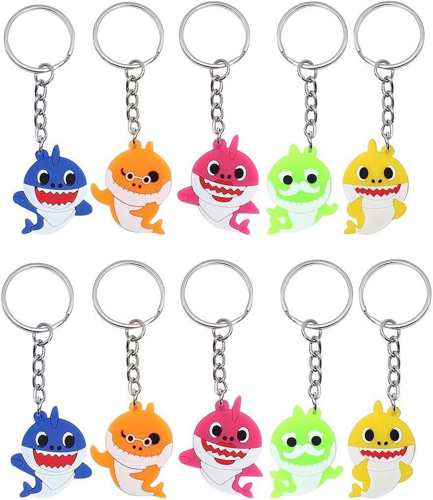 25 Pack Baby Cute Shark Keychains Boys Girls Kids Shark Theme Birthday Party Supplies Party Bag Pendant Gift Fillers Key Tags Goodie Bag Stuffer Holiday Charms Suppliers
