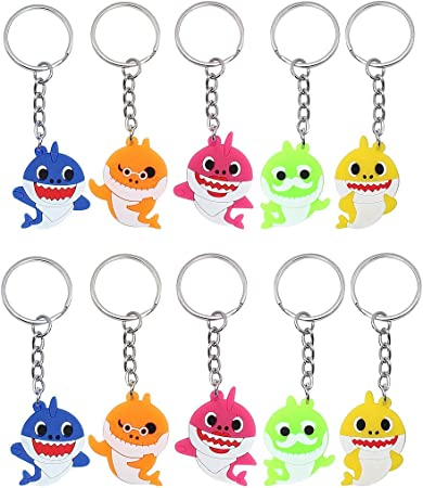 Baby Shark Party Favors Supplies Necklace 48pack Shark Themed Birthday Party Gift Fillers with Rubber Bracelets Badge and Sticker Tattoo for Kids Birtday Party Decoration Keychains