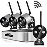 FREDI Mini 4CH 720P HD WiFi Security Camera System Wireless IP/Network Security/Surveillance Camera System with Mini 4 Channel 1080P NVR(Without Hard Drive)