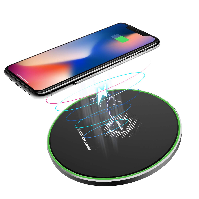 LOBKIN Caricatore Senza Fili Samsung, Nero iPhone x s8 Huawei Veloce Universale Fast Charge QC 3.0 per iPhone X, iPhone 8/8 Plus, Samsung Galaxy S9/S9 Plus/Note 8/S8/S8 Plus