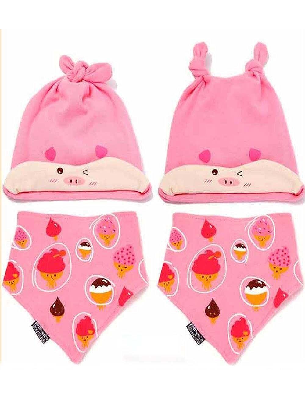 PANDA SUPERSTORE Cute Born Baby Girls Pink Piggy Cap /& Bib