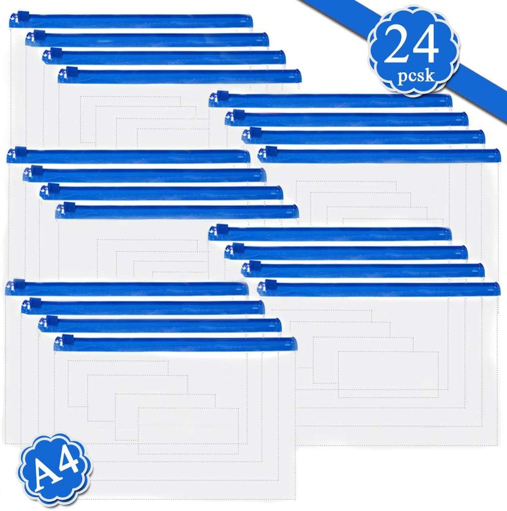 20 bolsas de plástico con cierre para archivos, transparentes tamaño A4, fundas de plástico, bolsa impermeable para organizador de documentos, material de PVC para suministros de oficina y familia