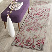 Safavieh Monaco Collection MNC205R Modern Floral Erased Weave Ivory and Pink Distressed Runner (22 x 12)